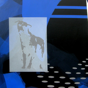 Street Dog & Jimmy III by Puspen Roy, Pop Art Painting, Acrylic on Canvas, Blue color