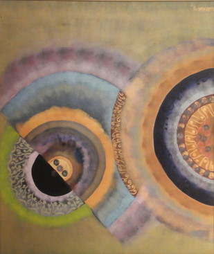 Untitled by Narendra Pal Singh, Abstract Painting, Acrylic on Canvas, Brown color