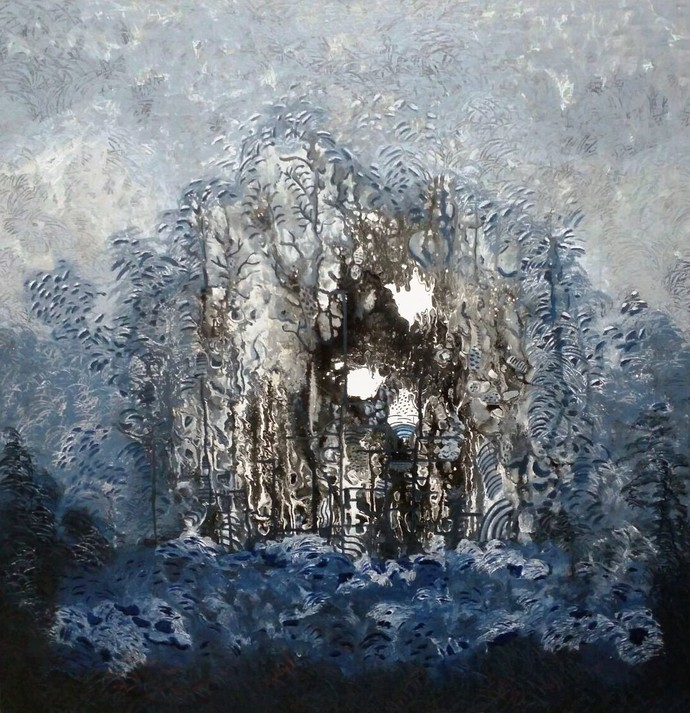 Mysteries of life by Rupinder kaur, Abstract Painting, Acrylic on Canvas, Gray color