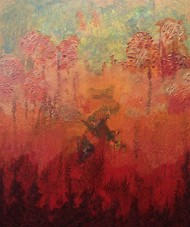 Autumn by Rupinder kaur, Abstract Painting, Acrylic on Canvas, Brown color