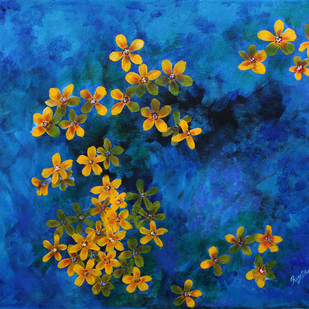 FLOATING FLOWERS by Roze Dhimaan, Impressionism Painting, Acrylic on Canvas, Blue color
