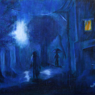RAINY NIGHT by Roze Dhimaan, Impressionism Painting, Acrylic on Canvas, Blue color
