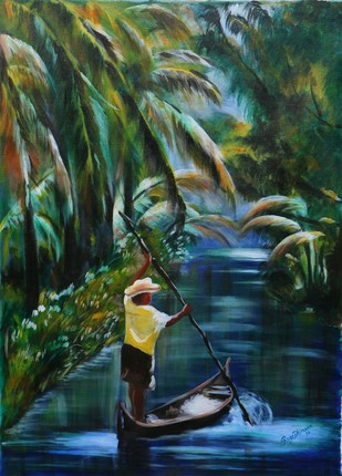 FLOW WITH THE RIVER by Roze Dhimaan, Impressionism Painting, Acrylic on Canvas, Green color