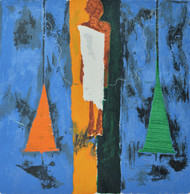Spindle by Haku Shah, Impressionism Serigraph, Serigraph on Paper, Blue color