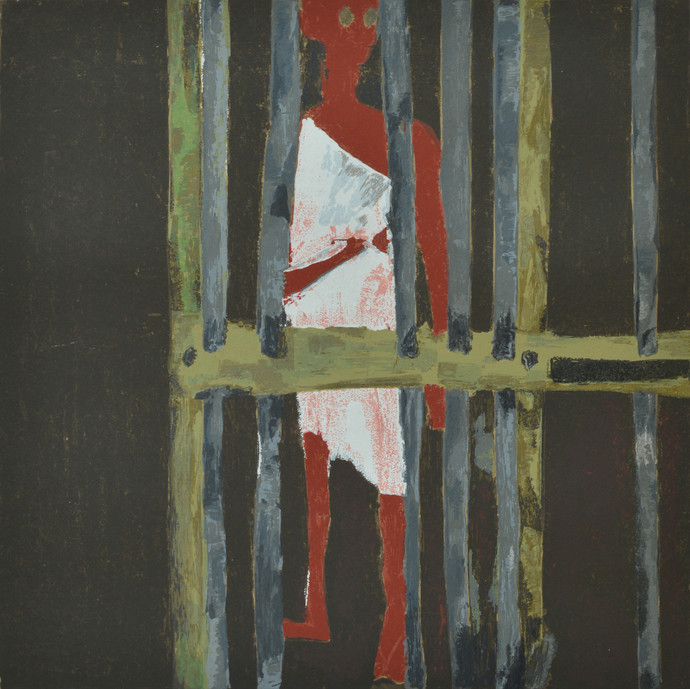 Jail by Haku Shah, Impressionism Serigraph, Serigraph on Paper, Gray color