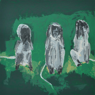 Three Monkeys by Haku Shah, Impressionism Serigraph, Serigraph on Paper, Green color