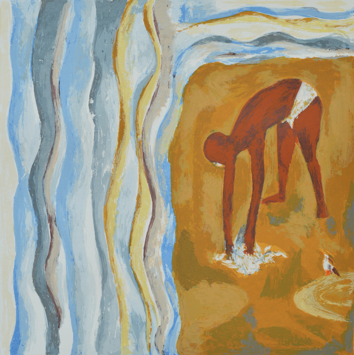 Salt March by Haku Shah, Impressionism Serigraph, Serigraph on Paper, Brown color