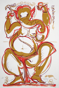 Ganapati by Jatin Das, Impressionism Serigraph, Serigraph on Paper, Beige color