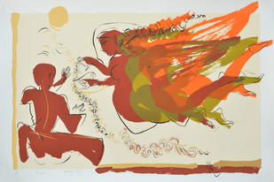 Triangel by Jatin Das, Expressionism Serigraph, Serigraph on Paper, Beige color