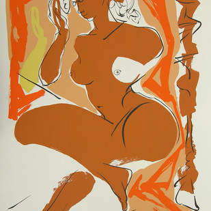 Sringar by Jatin Das, Impressionism Serigraph, Serigraph on Paper, Brown color
