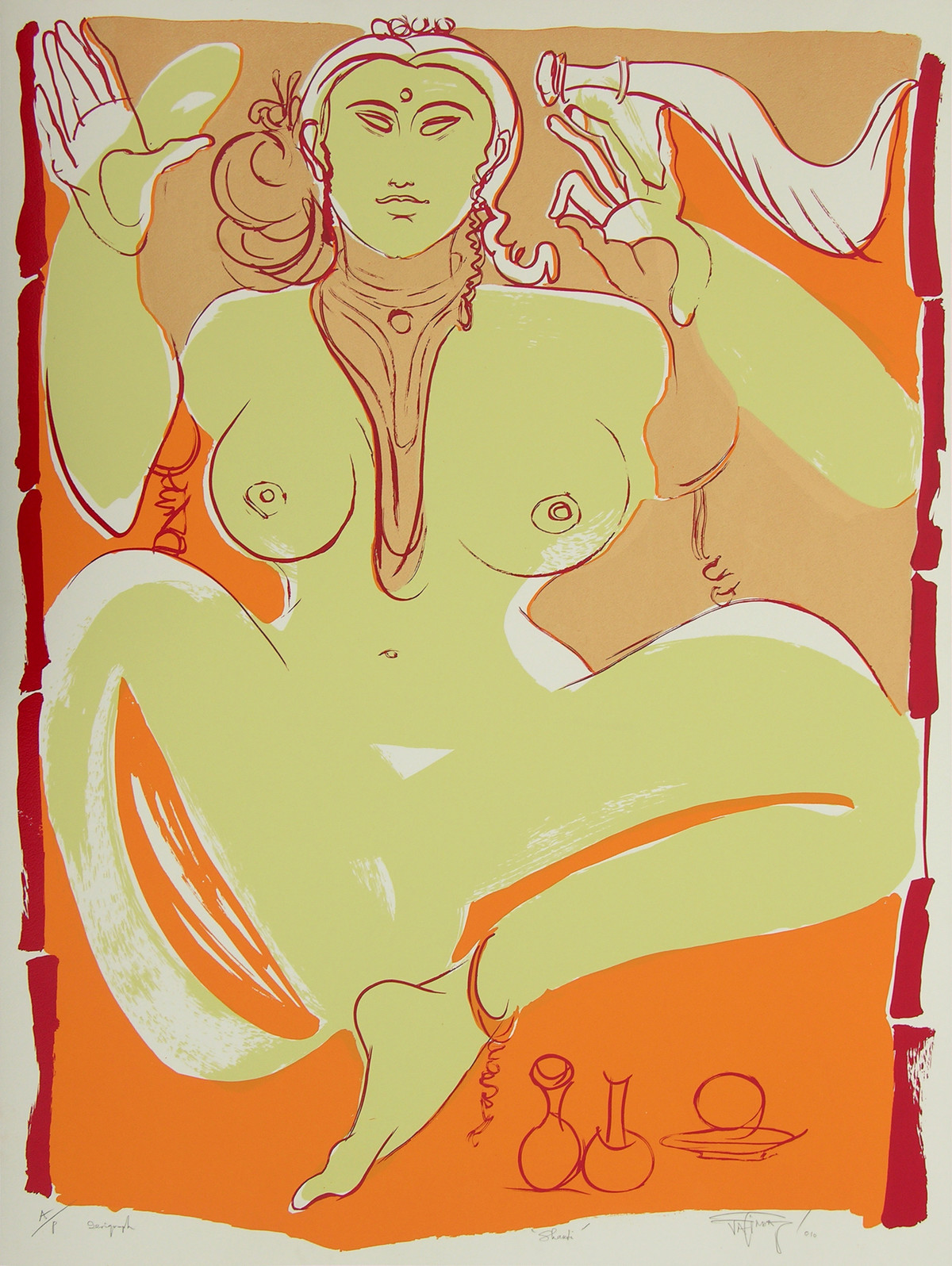 Shakti by Jatin Das, Impressionism Serigraph, Serigraph on Paper, Beige color