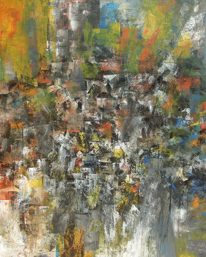 Distant View by M Singh, Impressionism Painting, Acrylic on Canvas, Brown color