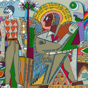 Myself as an artist by Jyoti Bhatt, Pop Art Serigraph, Serigraph on Paper, Brown color