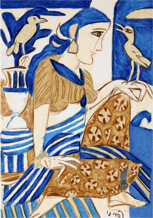 Seated Girl by K. G. Subramanyan , Impressionism Serigraph, Serigraph on Paper, Blue color