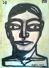 Face of a Man by Jogen Chowdhury, Illustration Painting, Ink & Pastels on Paper, Gray color