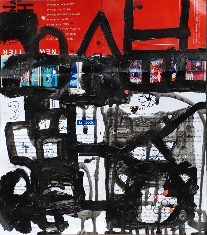 Red Collage by Harpreet Singh, Abstract Painting, Ink on Paper, Gray color