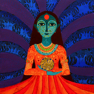 Royal Princess by Pragati Sharma Mohanty, Traditional Painting, Mixed Media on Canvas, Blue color