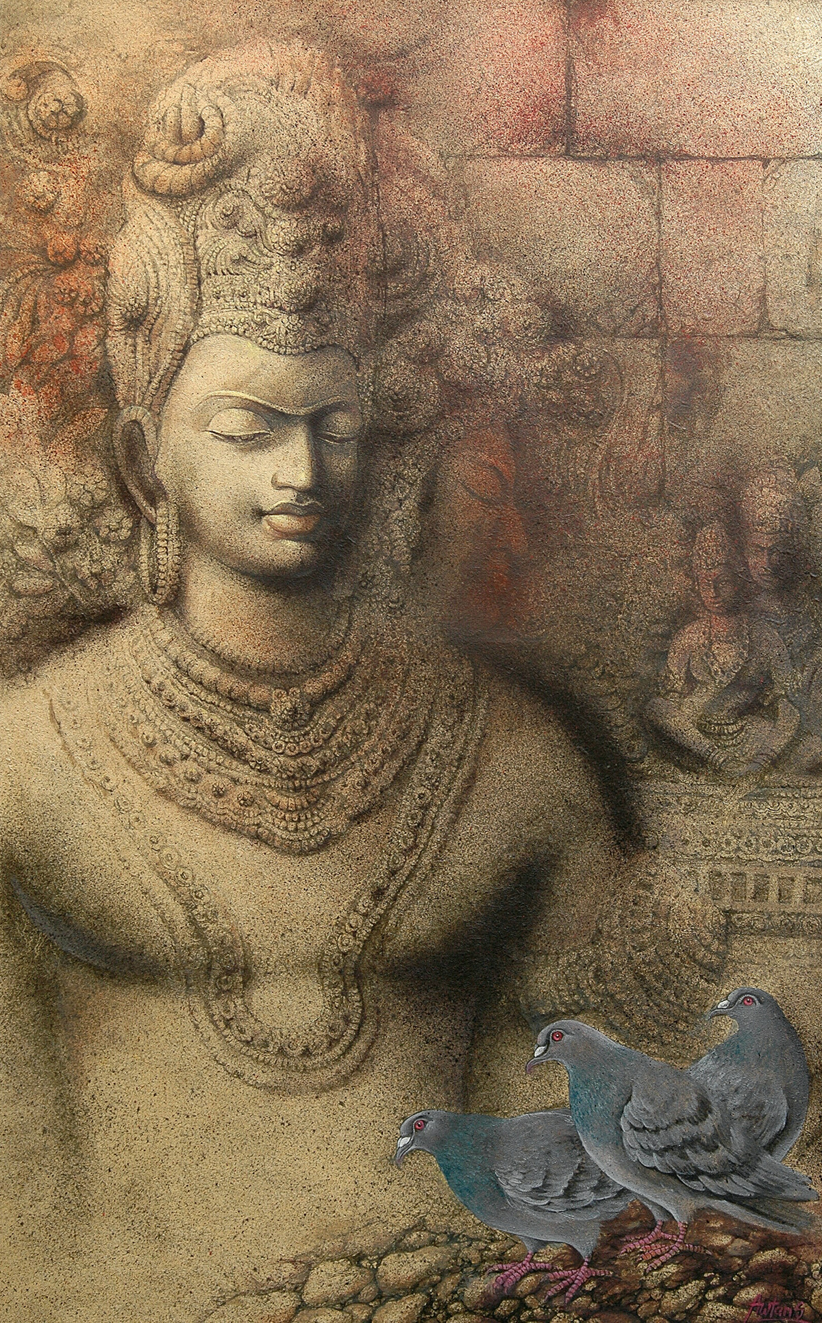 Buddha by Kaushik Awtans, Impressionism Painting, Mixed Media on Canvas, Brown color