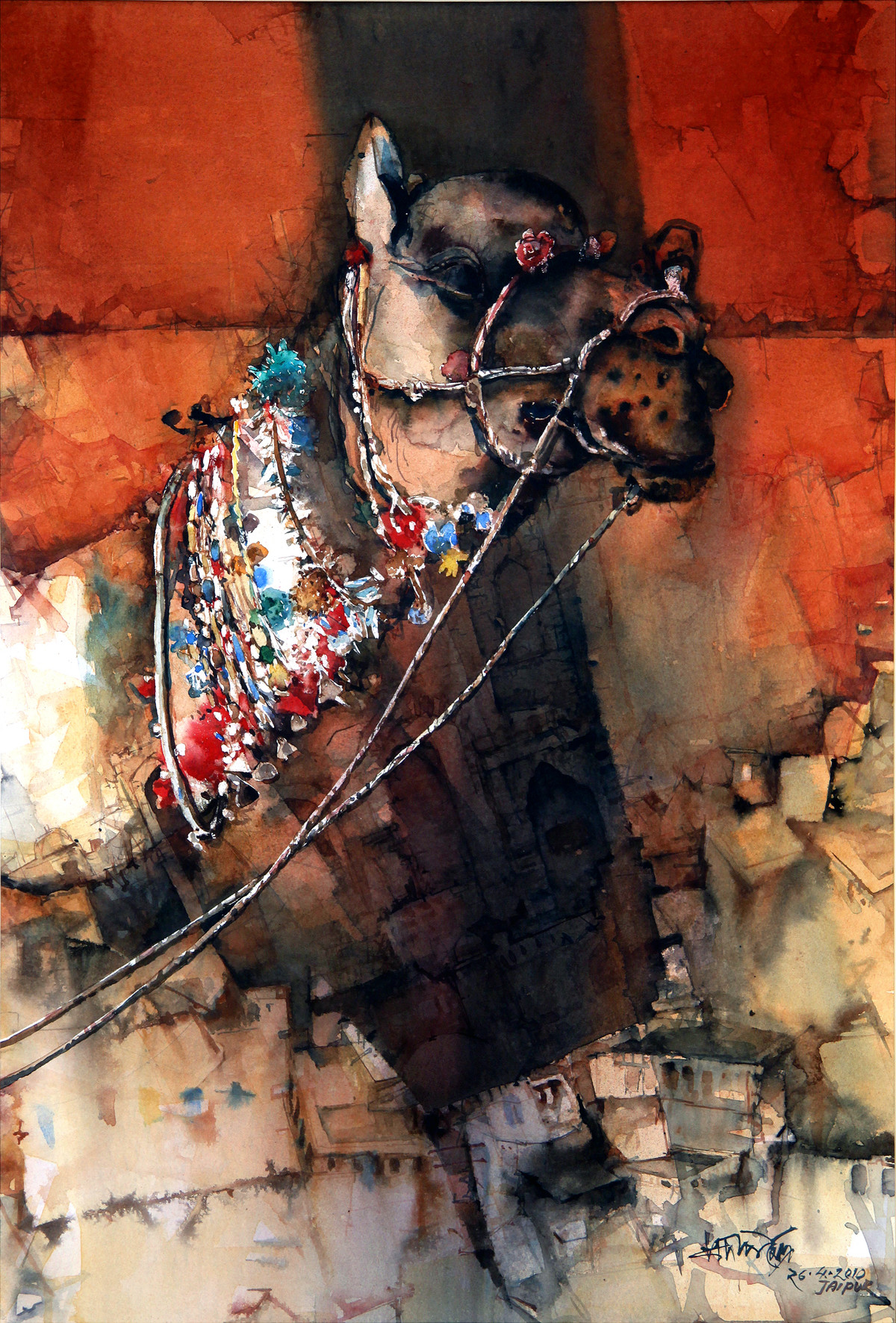 Untitled by Pradip Maitra, Impressionism Painting, Watercolor on Paper, Brown color