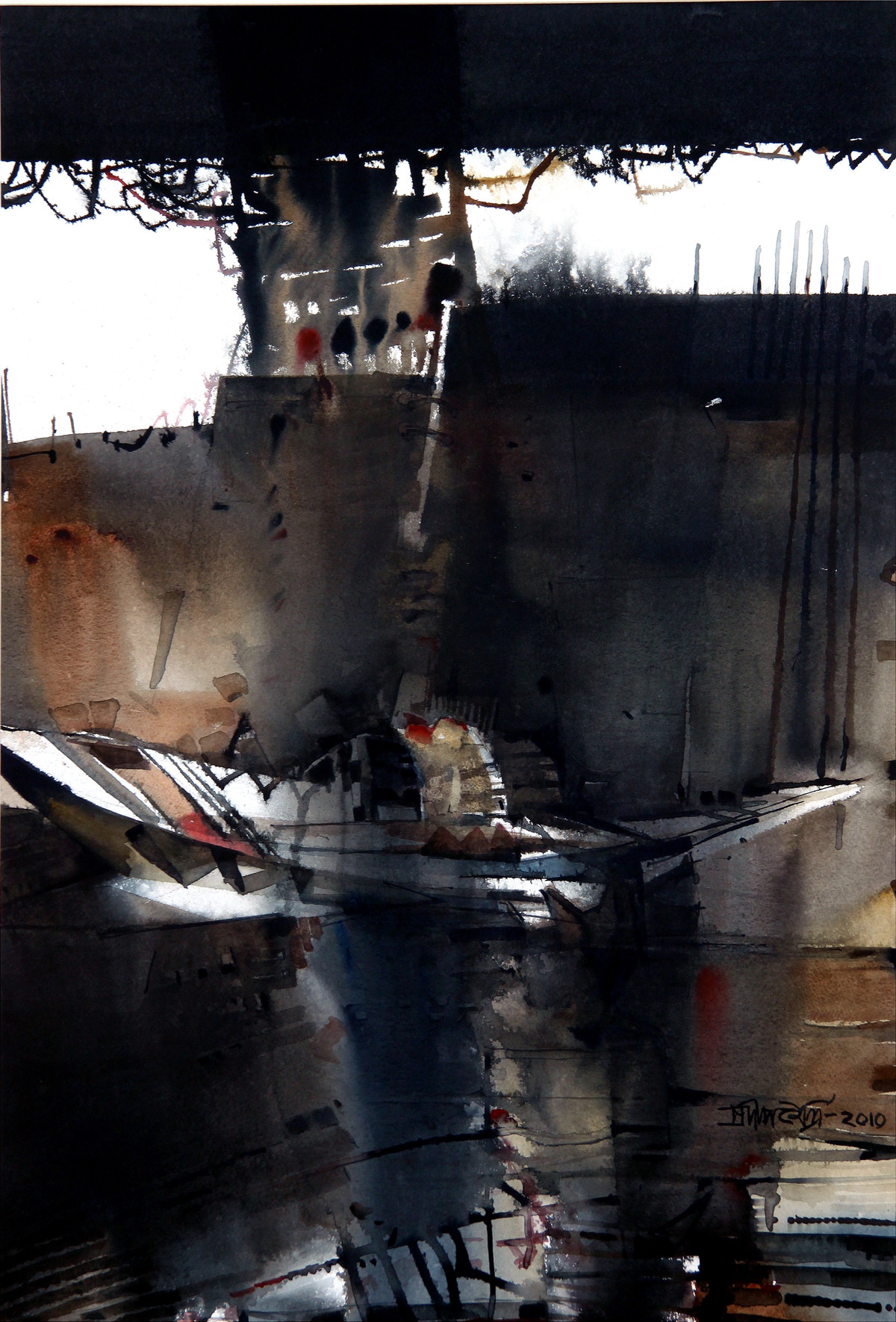 Untitled by Pradip Maitra, Impressionism Painting, Watercolor on Paper, Gray color