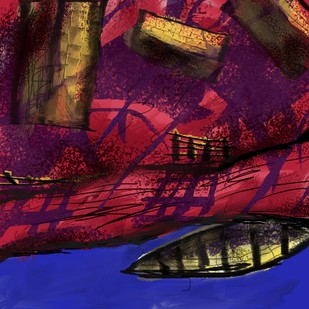 Fishermen Village by Adhi, Digital Digital Art, Digital Print on Canvas, Brown color
