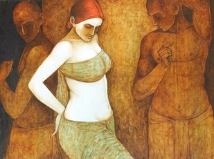 Rendezvous Rhythms by Asit Kumar Patnaik, Impressionism Painting, Acrylic on Canvas, Brown color