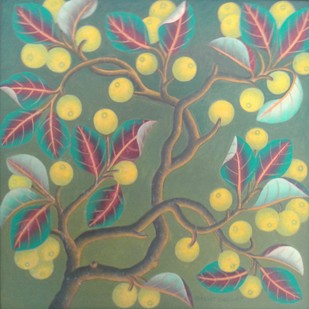 Lemon Tree by Bhagat Singh, Decorative Painting, Oil on Canvas, Beige color
