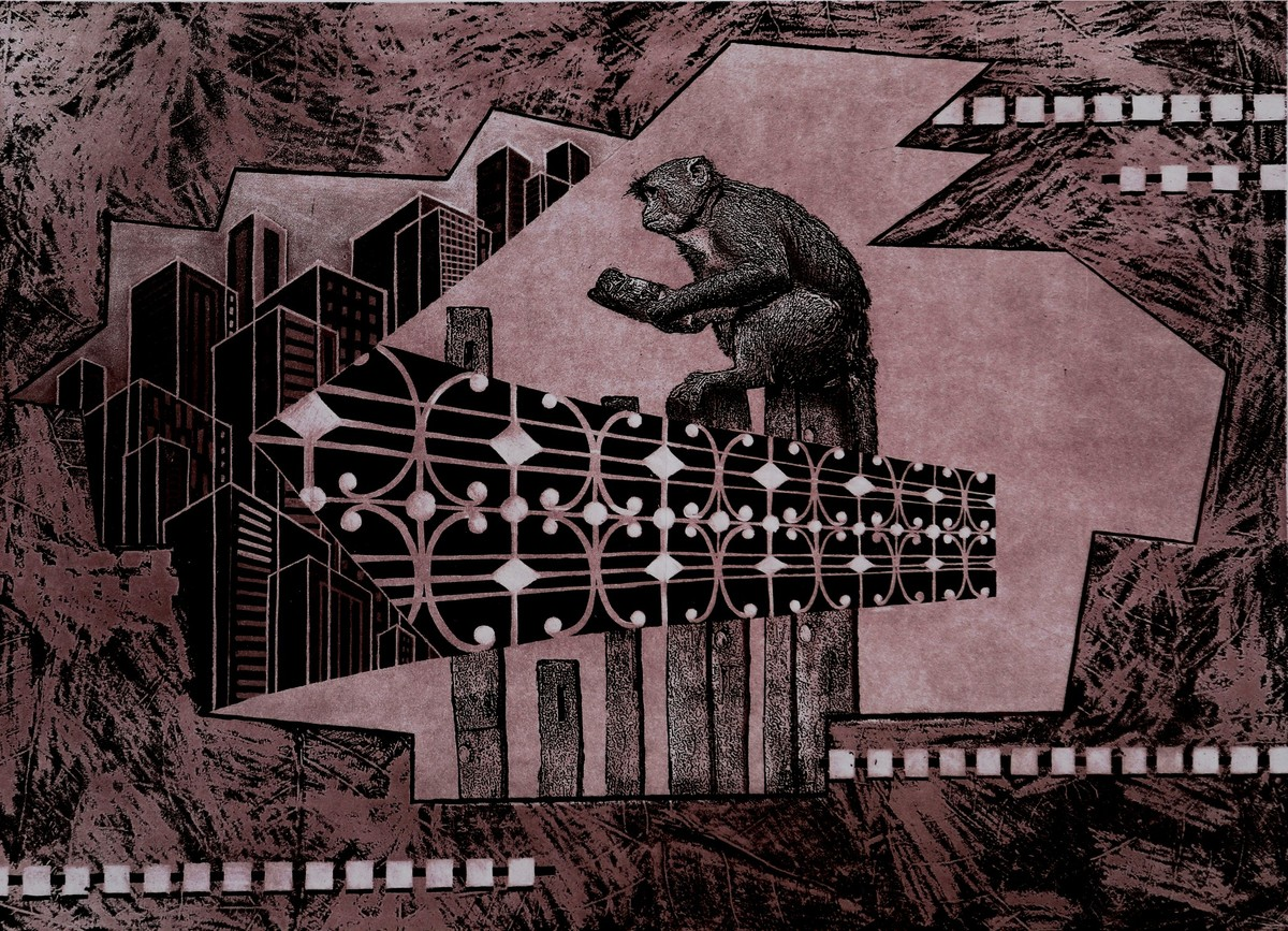 View from my Terrace II by Annu Gupta, Pop Art Printmaking, Etching and Aquatint, Brown color