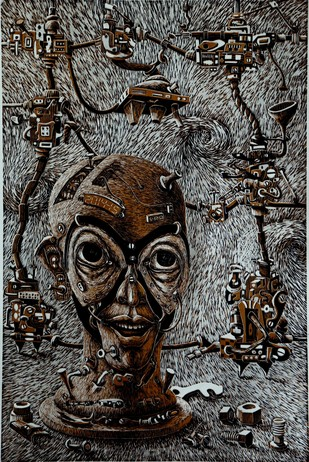 Mechanized Instinct R II by Jayant Gajera, Illustration Printmaking, Wood Cut on Paper, Gray color