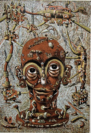 Mechanized Instinct IV by Jayant Gajera, Expressionism Printmaking, Wood Cut on Paper, Brown color