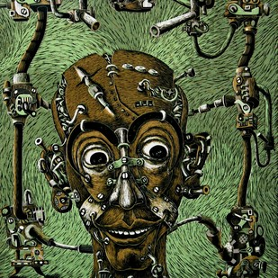 Mechanized Instinct R V by Jayant Gajera, Illustration Printmaking, Wood Cut on Paper, Green color
