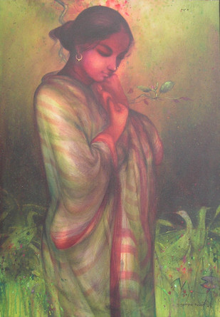 Indian Woman by Gouranga Beshai, Impressionism Painting, Acrylic on Canvas, Brown color