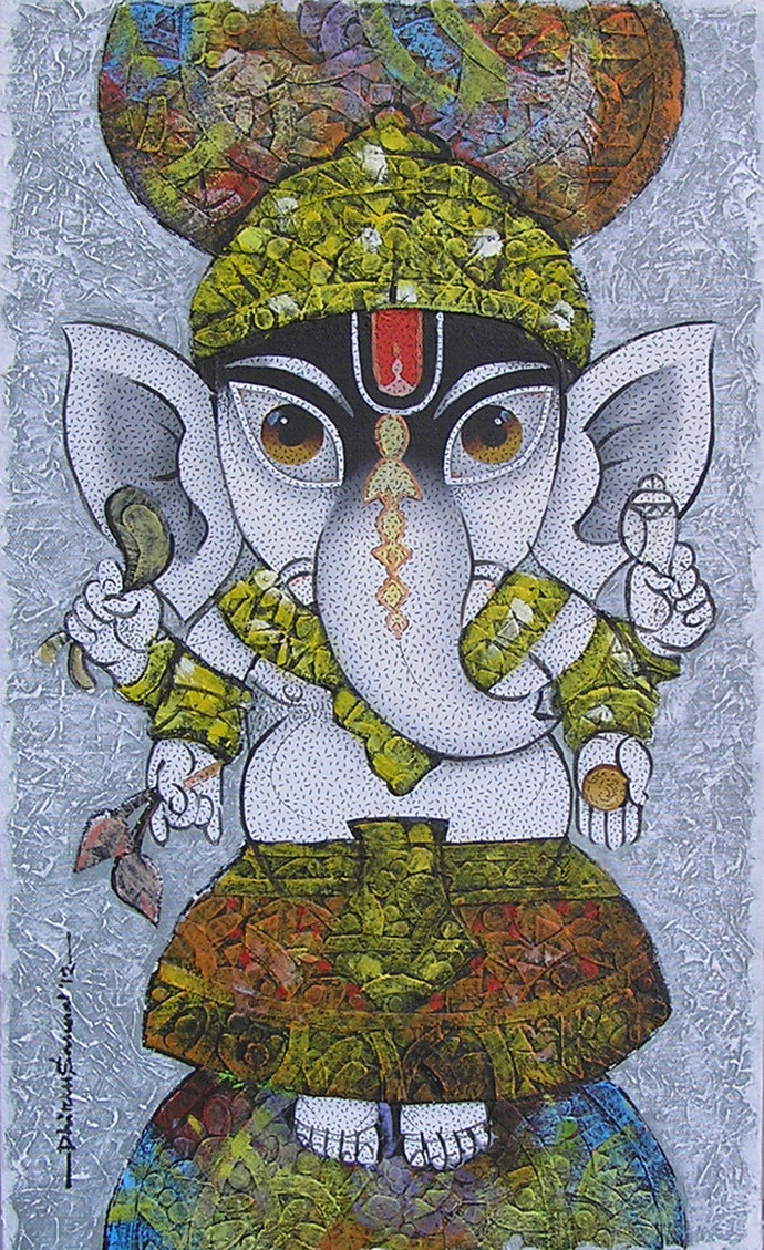 Lord Ganesha by Dhiren Sasmal, Traditional Painting, Acrylic on Canvas, Brown color