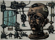 Mechanized Instinct L III by Jayant Gajera, Illustration Printmaking, Lithography on Paper, Gray color