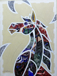 Horse by Dhiren Sasmal, Decorative Painting, Acrylic on Canvas, Gray color