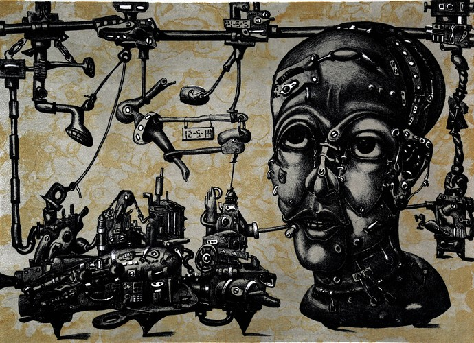 Mechanized Instinct R VIII by Jayant Gajera, Illustration Printmaking, Lithography on Paper, Gray color