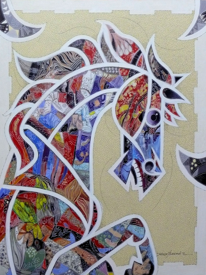 Horse by Dhiren Sasmal, Cubism Painting, Acrylic on Canvas, Gray color