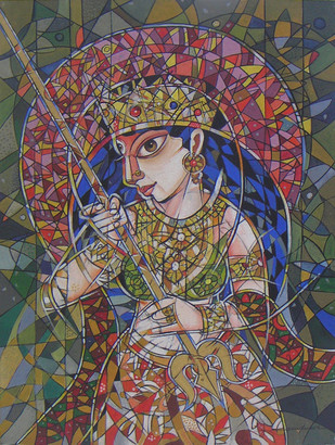 Goddess Durga by Dhiren Sasmal, Cubism Painting, Acrylic on Canvas, Brown color