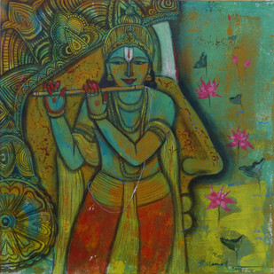 Lord Krishna by Pramod Reddy Gade, Traditional Painting, Acrylic on Canvas, Green color