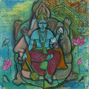Lord Vishnu - Kurma Avtar by Pramod Reddy Gade, Traditional Painting, Acrylic on Canvas, Green color
