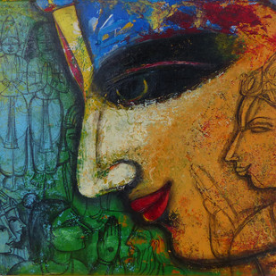 Lord Rama by Pramod Reddy Gade, Traditional Painting, Acrylic on Canvas, Brown color