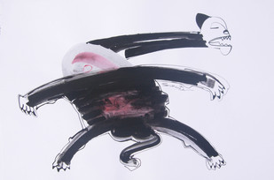 ANIMAL SERIES 4 by Sukanta Chowdhury, Illustration Drawing, Ink on Paper, Pink color
