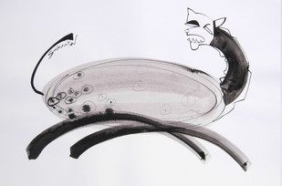 ANIMAL SERIES 5 by Sukanta Chowdhury, Illustration Drawing, Ink on Paper, Gray color