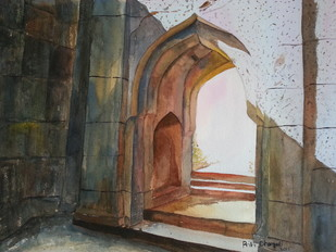 way out... by Priti Dhongadi, Impressionism Painting, Watercolor on Paper, Brown color