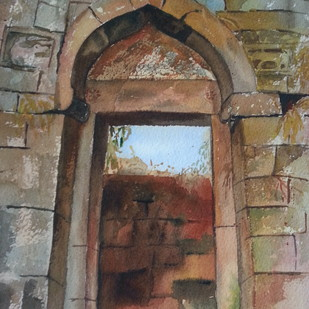 way to... by Priti Dhongadi, Impressionism Painting, Watercolor on Paper, Brown color