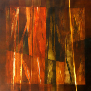 Untitled by Ramesh Kher, Abstract Painting, Acrylic on Canvas, Brown color