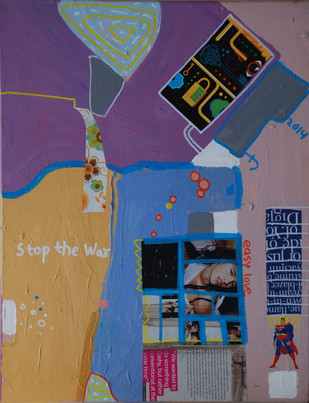 Stop the war I by Harpreet Singh, Pop Art , Acrylic on Canvas, Blue color