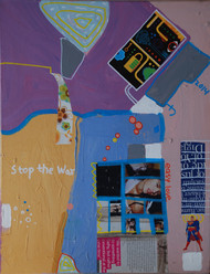 Stop the war I by Harpreet Singh, Pop Art , Acrylic on Canvas, Blue color