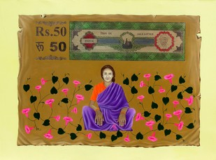 Chhattisgarh Diaries - Ipomoea by Tushar Waghela, Pop Art Painting, Oil & Acrylic on Canvas, Brown color