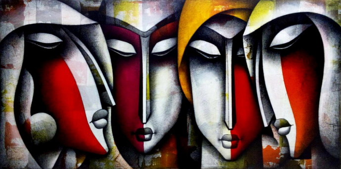 United by Love by Jagannath Paul, Decorative Painting, Mixed Media on Canvas, Brown color